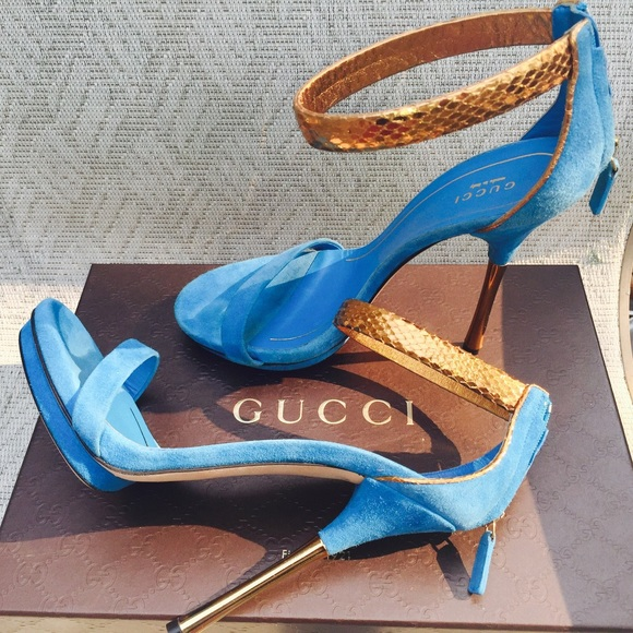 d6778300e7bf BNIB Blue Gucci Kelis Sandals EU 39 US 8 8.5!
